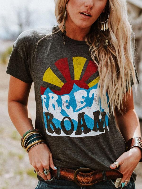 Free To Roam Letter Printed Graphic T-shirt