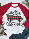 Merry Christmas Plaid Truck Baseball T-Shirt