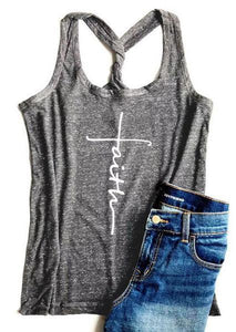 O-neck Printed Faith Racerback Tank