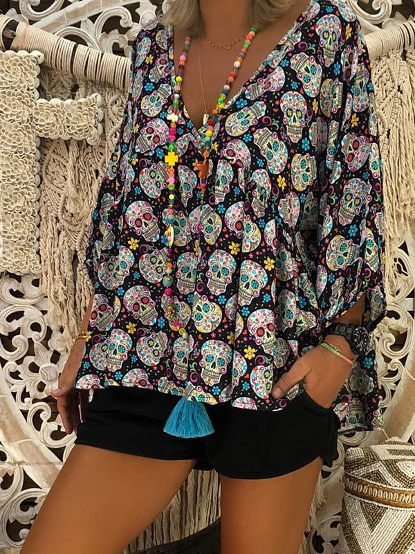 V-neck Skull Printed Blouse