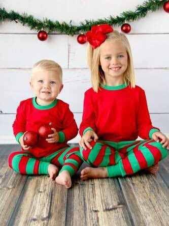 Stripe Splice Christmas Holiday Family Sleepwear