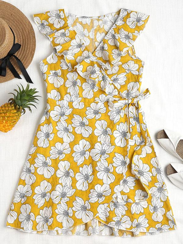 Ruffles Floral Printed Wrap Dress