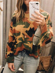 Camouflage Printed Trumpet Sleeve Blouse