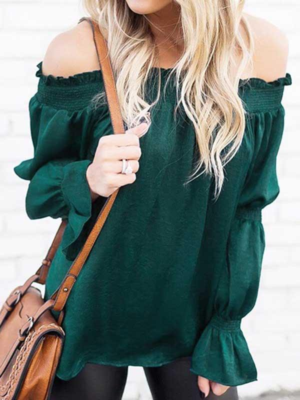 Off Shoulder Ruffle Sleeve Solid Blouse