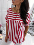 Red And White Stripes Blouse-Blouse-Fechicin.com