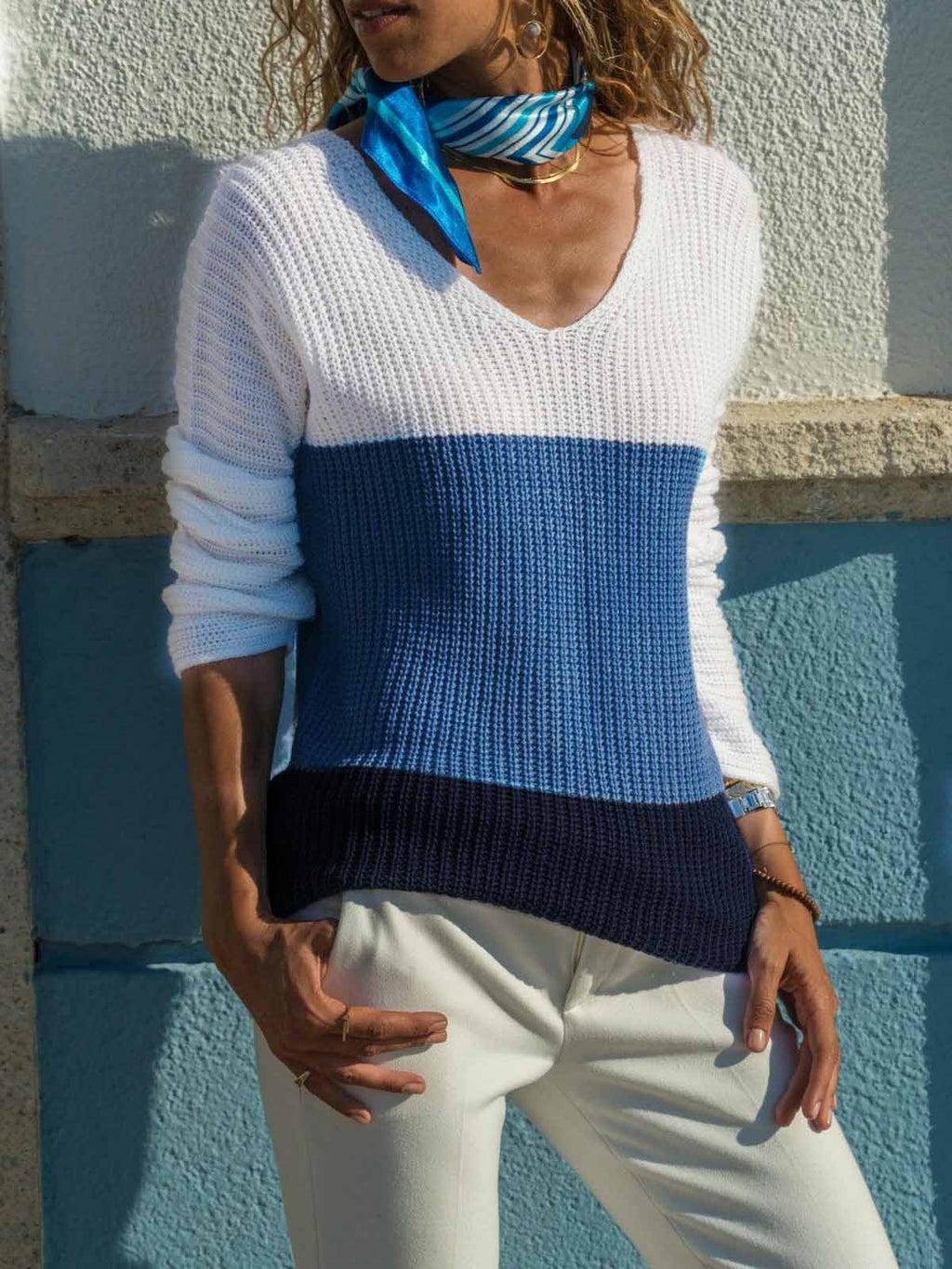 V-neck Splice Long Sleeve Sweater