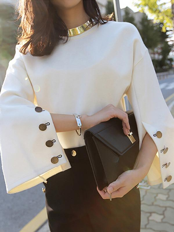 Solid Color Loose Buttons Blouse