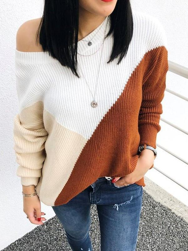 Color Matching Loose Knit Sweater