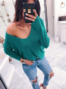 Solide Color Long Sleeve Loose Blouse