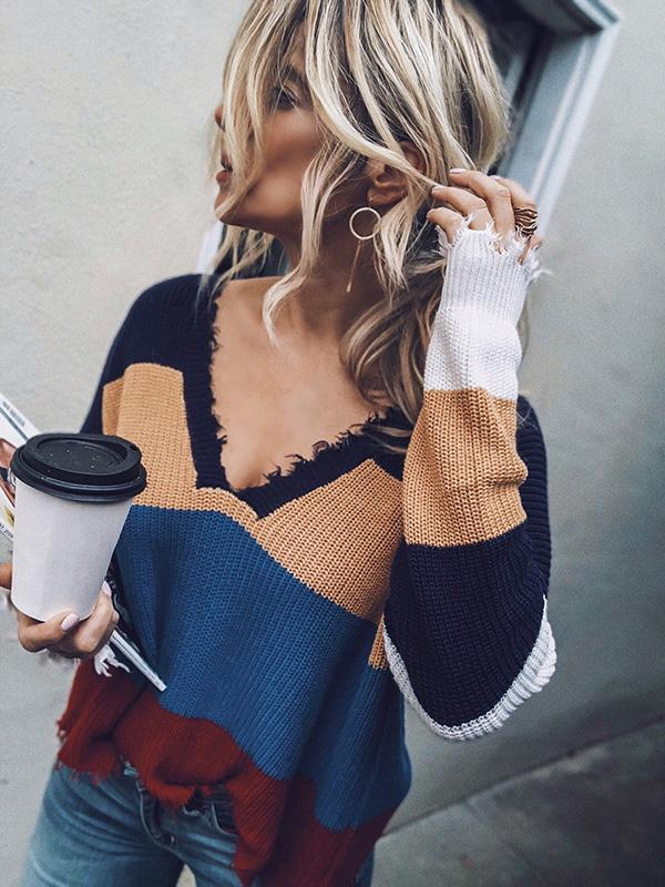 V-neck Striped Woolen Sweater