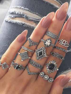 Vintage 15 Pcs Silver Ring Set Lotus Ring