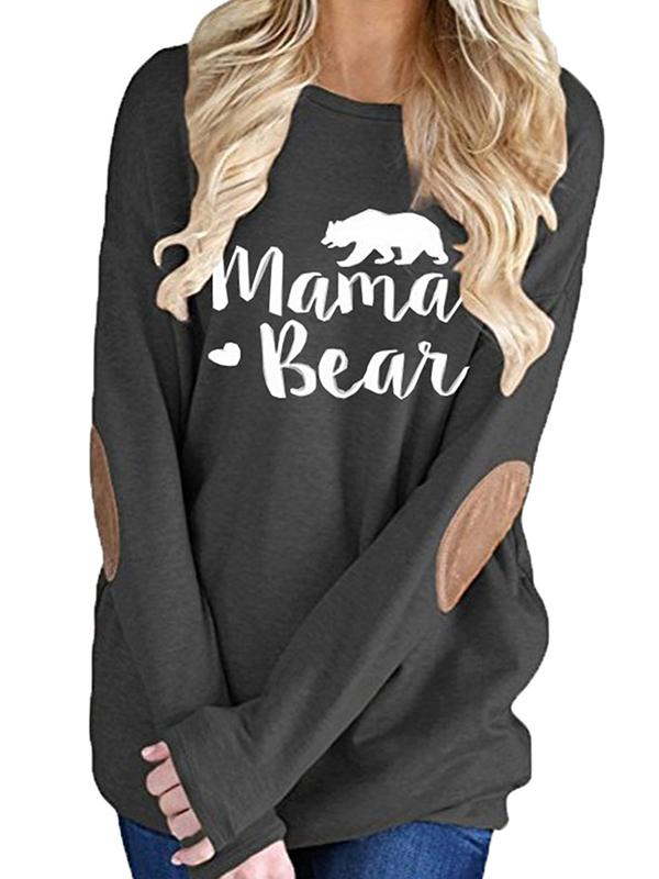 Long Sleeve Crew Neck Mama Bear Elbow Patch T-Shirt