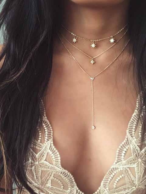 Vintage 3 Layer Star Necklace Chain
