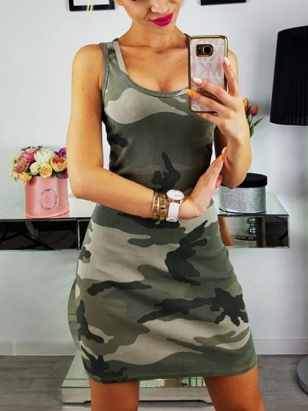 Camouflage Printed U-neck Mini Dress