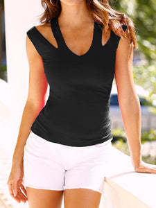 Solid V-neck Tight Tank-Tanks-Fechicin.com