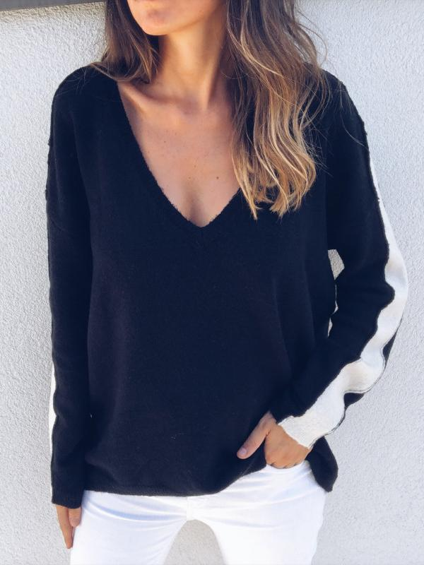 V-neck Contrast Knit Sweater