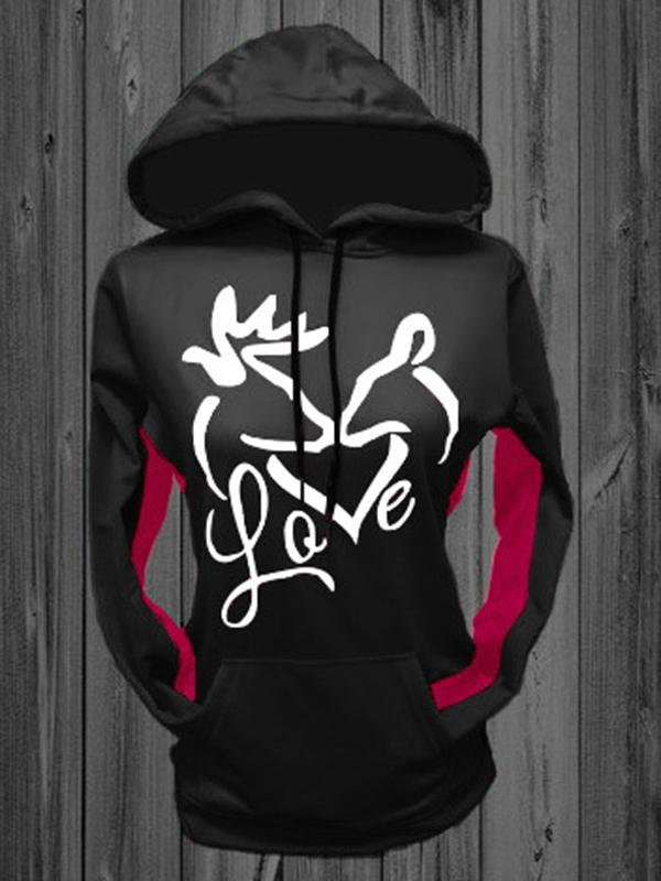 Love Printed Long Sleeve Hoodies-Hoodies & Sweatshirts-Fechicin.com