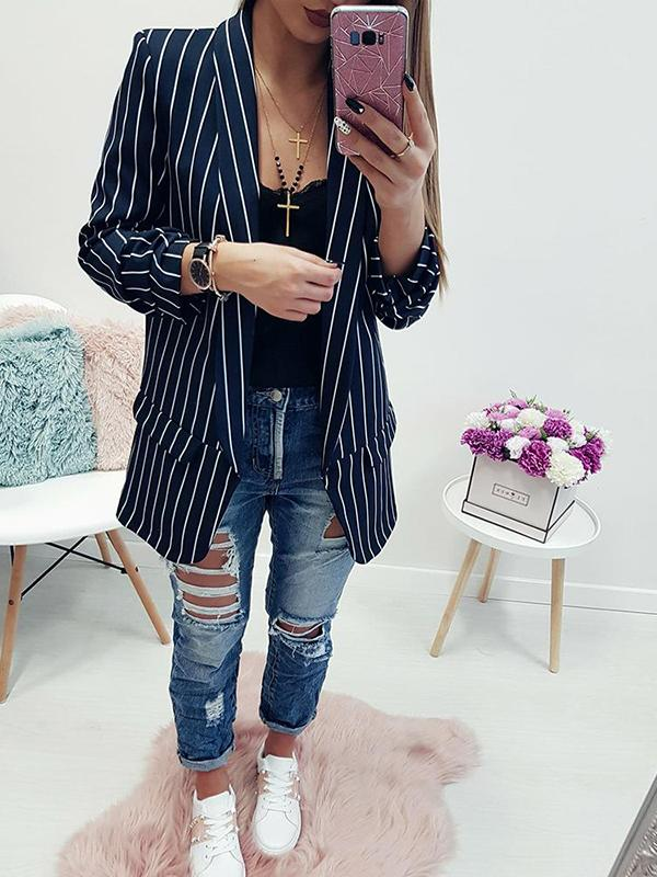 Stripe Sexy Long Sleeve Suit Top-Cardigans & Coats-Fechicin.com