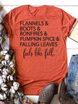 Pumpkin Spice Falling Leaves Feels Like Fall T-Shirt