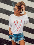 Heart Printed Letter T-shirt
