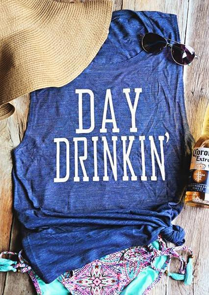 Day Drinkin' Casual Letter Tank