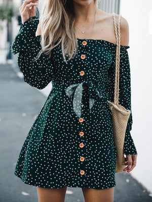 Off-Shoulder Wave Point Button Dress