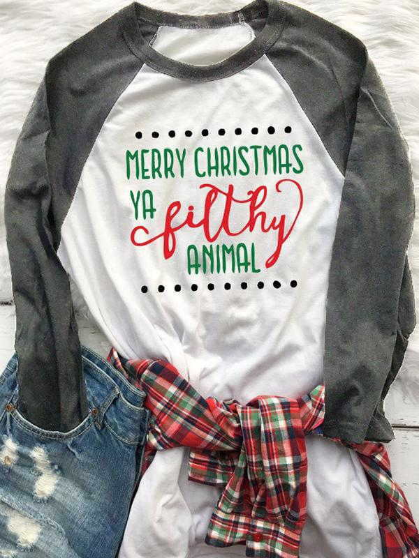 Christmas Letter Printed T-Shirt