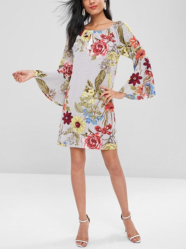 Floral Printed Elastic Mini Dress