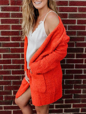 Solid Color Plush Pocket Cardigan