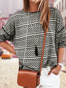 Ladies Casual Tops Geometric Printed T-shirt