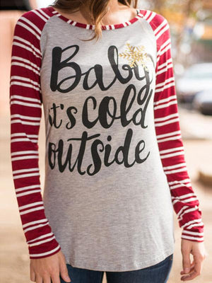Baby It's Cold Outside Striped T-shirt