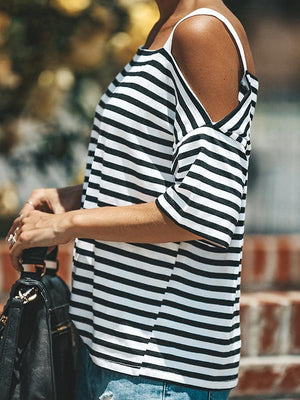 Stripe Printed Slip Loose Blouse