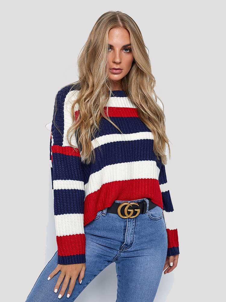 Loose Large Size Striped Color Matching Sweater