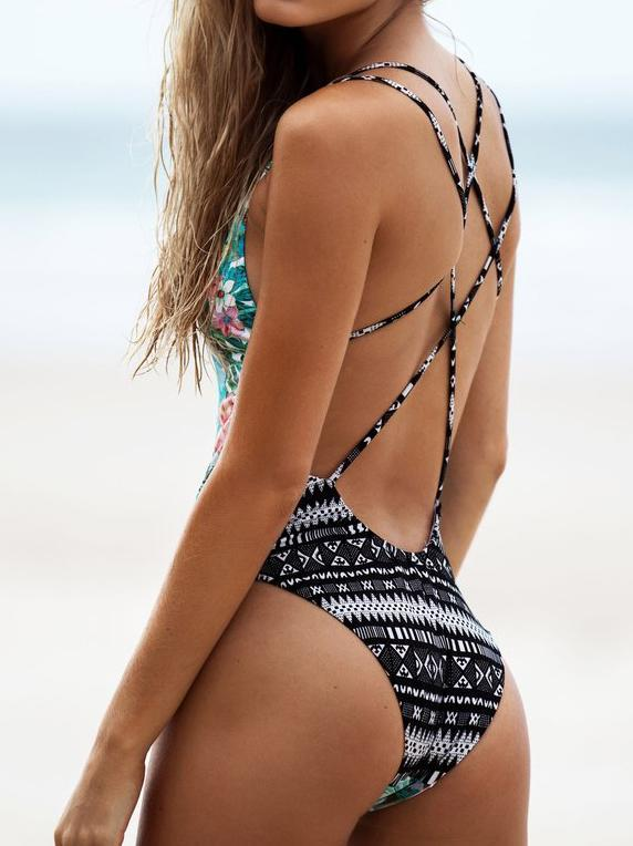 Floral Print Backless One-piece Swimsuit