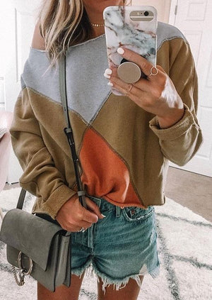 Color Block One Shoulder Sweatshirt