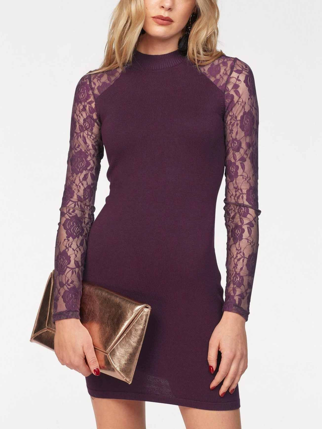 Solid Color Lace Sexy Sweater Dress