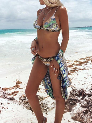 Floral Print Triangle Strappy Bikini Set