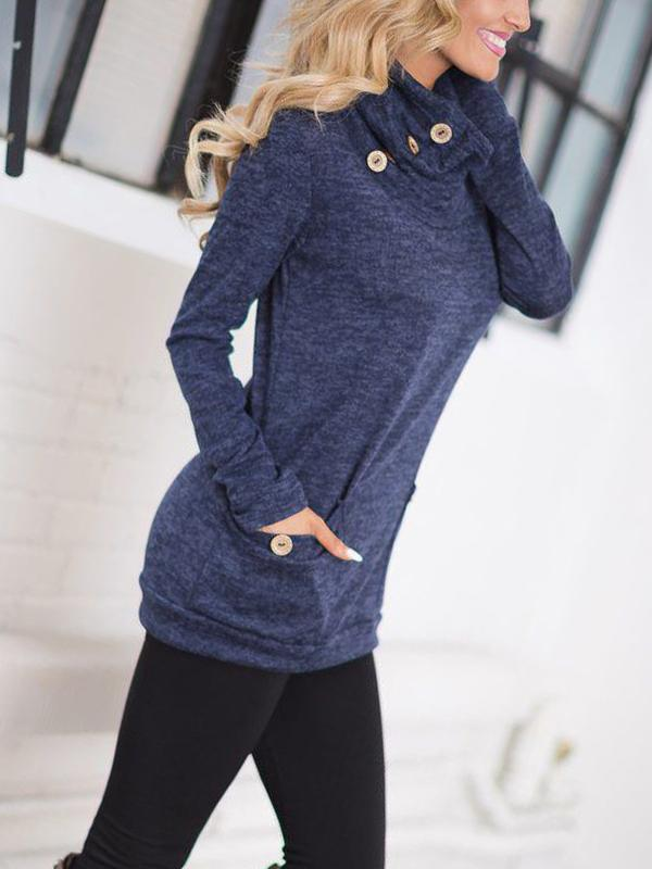 Stacked Collar Button Pocket Sweater-Blouse-Fechicin.com