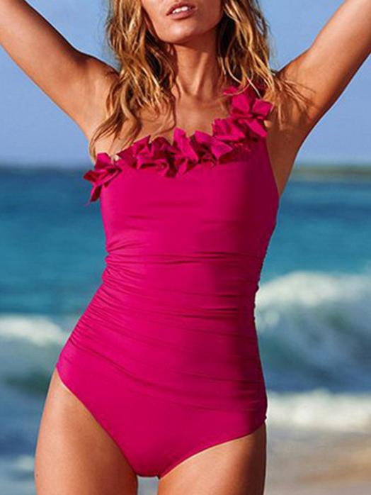 Ruffled One-shoulder Solid Color Swimsuit
