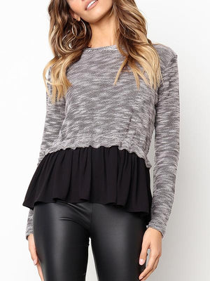 Ruffled Stitching Long Sleeve Top