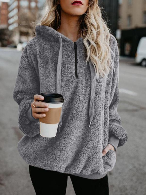 Solid Pocket Long Sleeve Hoodie