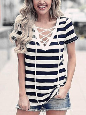 Stripe Lace Up V-Neck T-Shirt-T-shirts-Fechicin.com