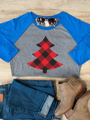 Christmas Tree Printed Splicing T-Shirt