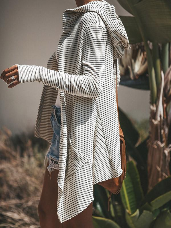 Stripe Irregular Long Sleeve Cardigan