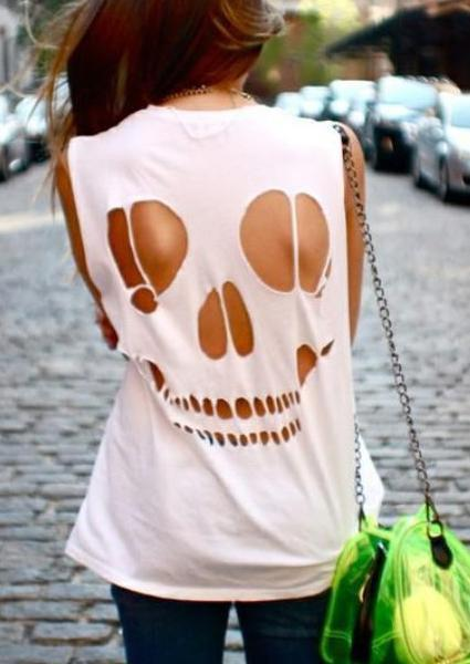 Solid Color Skull Backless Tank