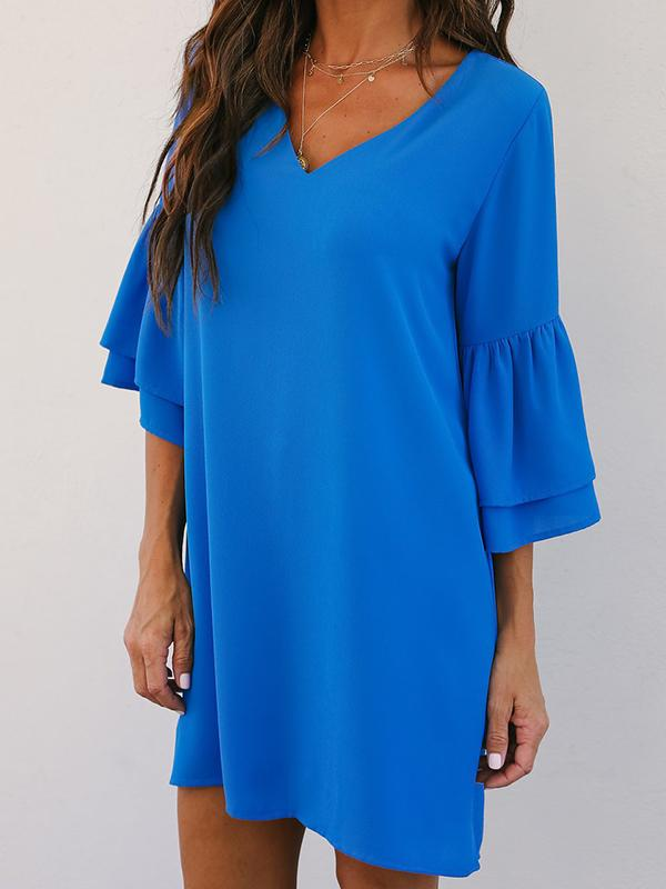Solid Color Sleeve Shift Dress-Mini Dress-Fechicin.com