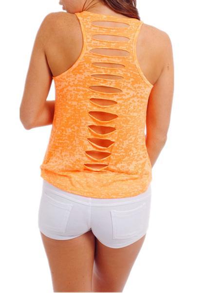 Solid Color  Back Hollow Sleeveless Tank
