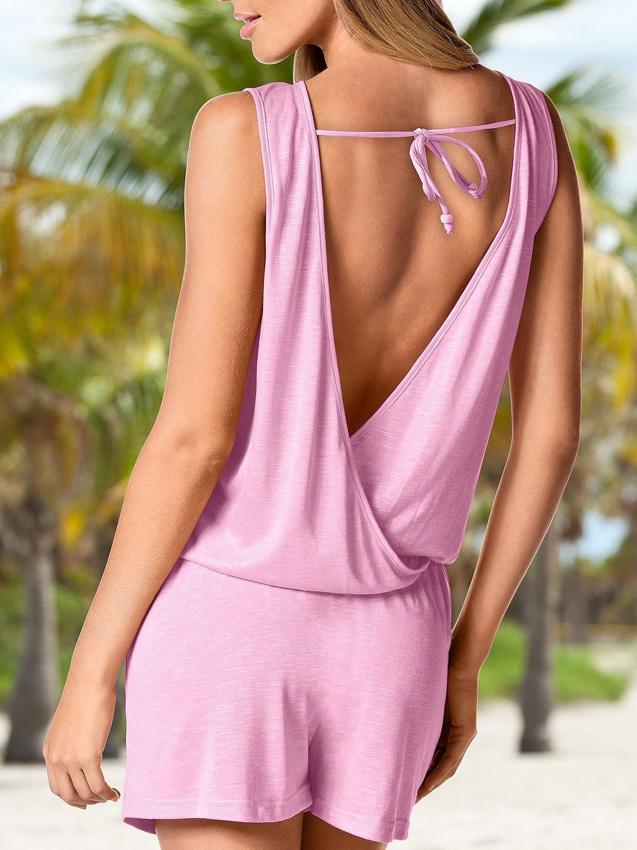 Solid Color V-neck Backless Jumpsuits