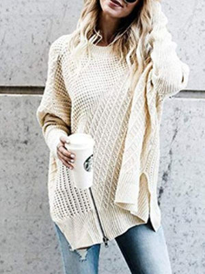 Solid Color One Shoulder Zipper Sweater