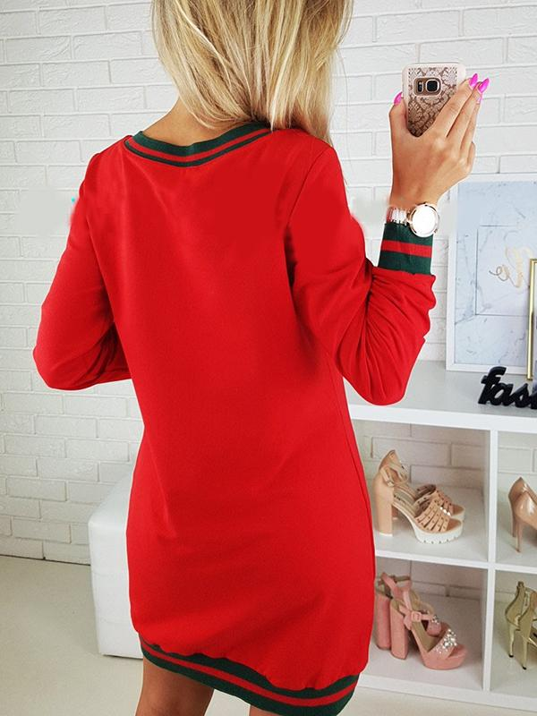 Long Sleeve O neck Dress With Pocket